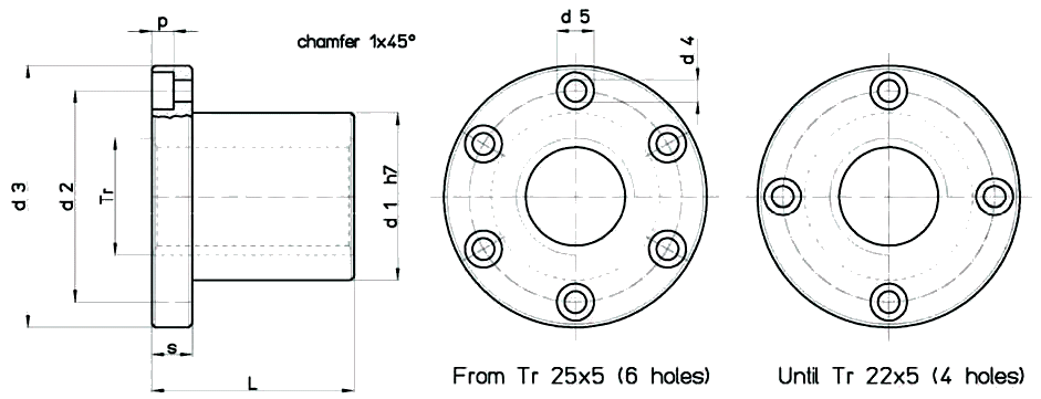 Flanged Bronze FBNNS Nut Diagram