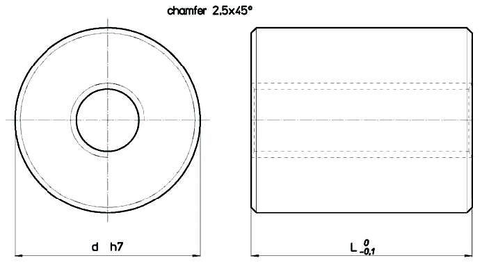 Cylindrical Bronze LRBN Nut Diagram