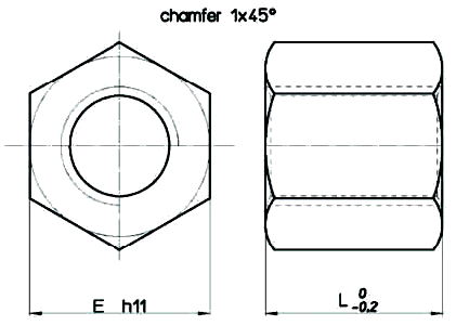 Hexagonal Steel HSN Nut Diagram