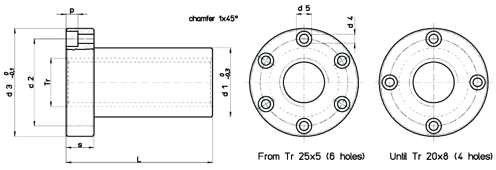 FPN Flanged Self-Lubricating Plastic Nut Diagram