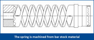 The spring is machined from bar stock material