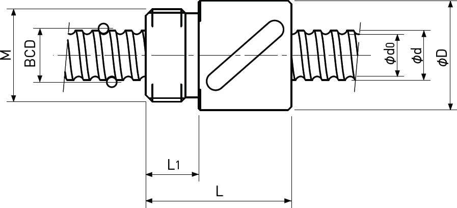 Ballscrew Single Nut M Thread Diagram 2