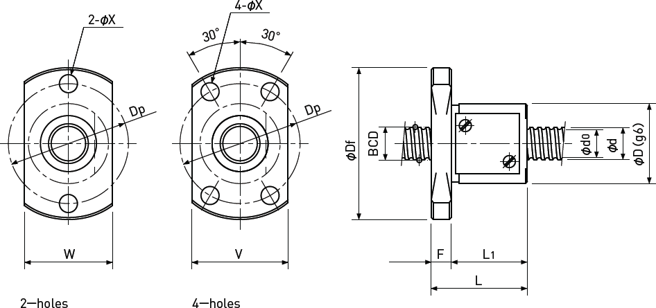 Ballscrew Single Nut with Flange Diagram 1
