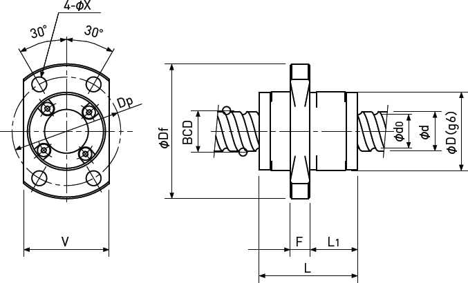 Ballscrew Single Nut with Flange Diagram 3