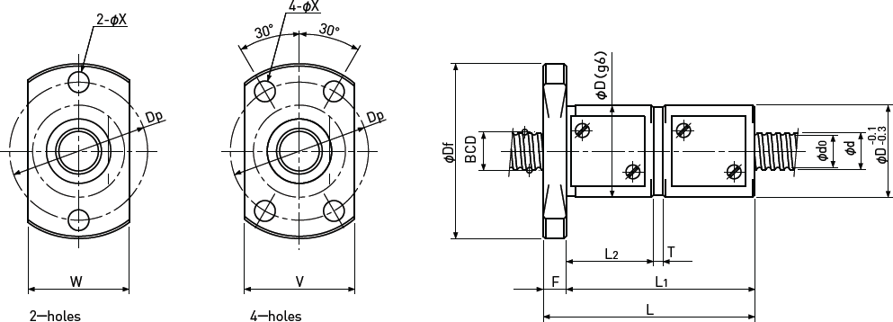Ballscrew Double Nut with Flange Diagram 1