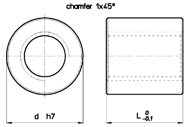 Cylindrical Bronze RBND Nut Diagram