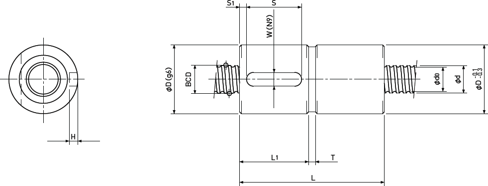 Ballscrew Sleeve type Double Nut Diagram 1