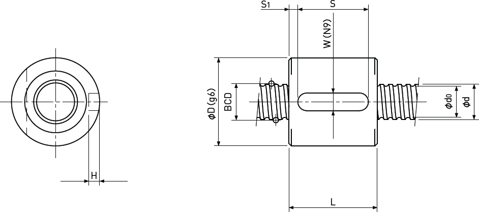 Ballscrew Sleeve type Single Nut Diagram 1