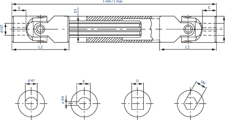 Extendable joints with needle bearing diagram