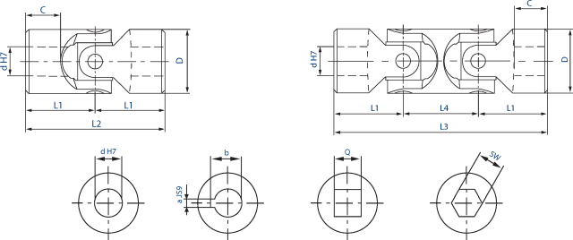Universal joints with plain bearing diagram