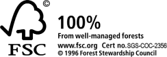 FSC Logo, 100% from well managed forests