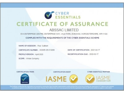 Cyber essentials certification achieved