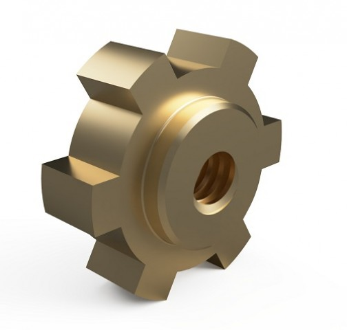 Custom Bronze nut design with integral gear